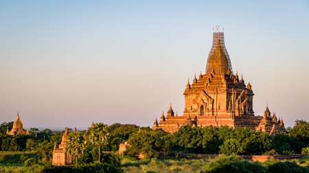 Bagan Temples and Religious sites Burma Myanmar. Buddhist temples and artifacts from this ancient city Stock Photo