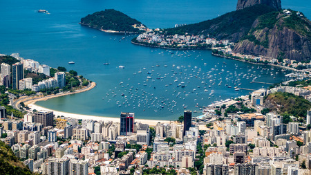 RIo City Scape Skyline Brazil. Very much one of the main tourist attractions and points of interest in the area. Stock Photo