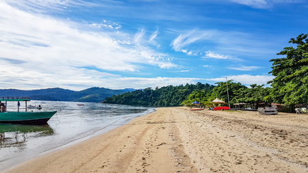 Beach and Golden Sand Scene Paraty Brazil. Very much one of the main tourist attractions and points of interest in the area. Reklamní fotografie