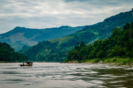 Views of the Mekong Delta from Laos South East Asia. Spectacular views of the rivers, trees and mountains