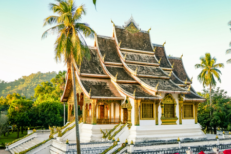 Classic Temple Landmark from Luang Prabang Laos South East Asia. xiengthong the most amazing buddhist temple in the heart of the city 写真素材