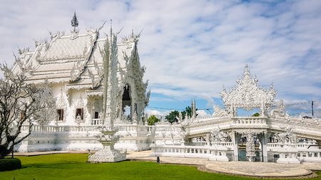 The White Temple in Chiang Rai Thailand South East Asia. Buddhist Temple and one of the main attractions in the area of northern thailand Stock Photo