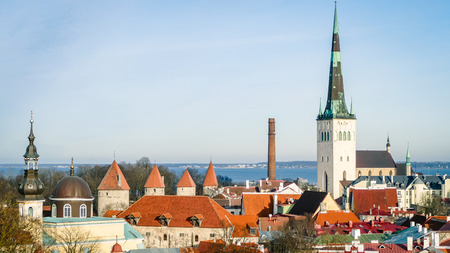 Tallinn Cityscape Skyline Estonia Eastern Europe Baltic. The classic Iconic view of the city that everyone recognises