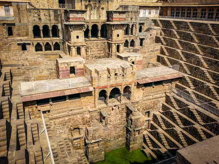baori chand abhaneri india rajasthan. Very much one of the main tourist attractions and points of interest in the area. Stock Photo
