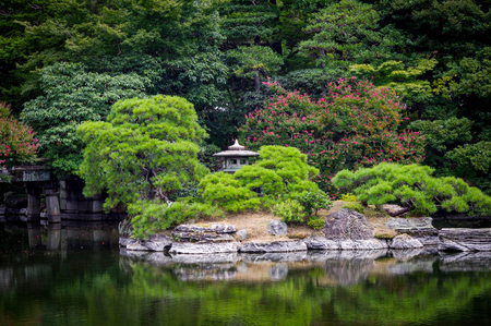Beautiful Japanese Meditiation Garden Scene. Very much one of the main tourist attractions and points of interest in the area.