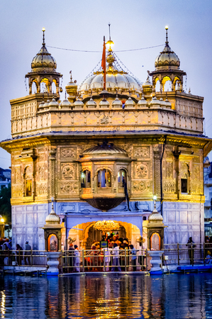 Golden Temple in Amritsar Punjab India. Very much one of the main tourist attractions and points of interest in the area. Stock Photo