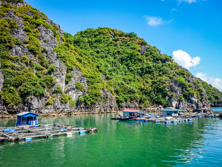 Halong Bay Cruise Scene Vietnam South East Asia. Very much one of the main tourist attractions and points of interest in the area. Stock Photo