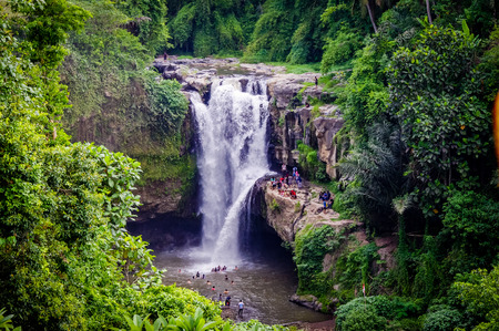 Tegenungan Waterfalls of Bali Indonesia. Very much one of the main tourist attractions and points of interest in the area. Stock Photo