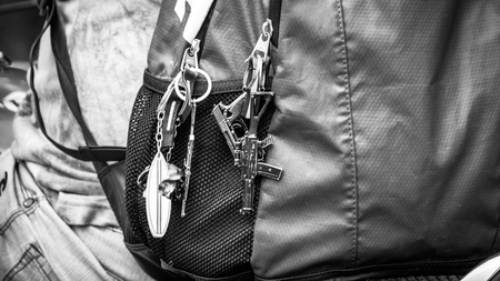 Gun Keyring on belt Sao Paulo Brazil. Very much a common site in the area and typical of the local culture