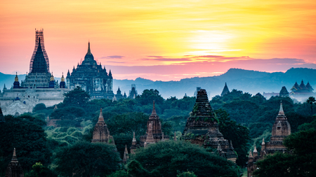 Bagan Temples and Religious sites Burma Myanmar. Buddhist temples and artifacts from this ancient city 스톡 콘텐츠