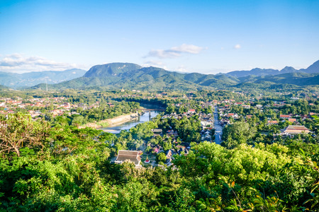 Luang Prang Laos View from Mount Phousi. South East Asia, View of the town and surrounding countryside from the top of Mount Phousi