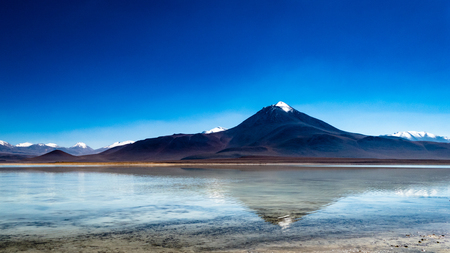 Amazing Bolivia Lagoon Mountain Scene. Very much one of the main tourist attractions and points of interest in the area. Reklamní fotografie