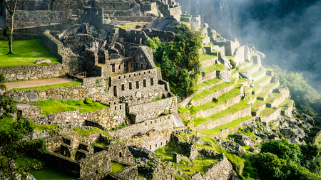 Inca Village in the mountains Peru South America. Very much one of the main tourist attractions and points of interest in the area. Banque d'images