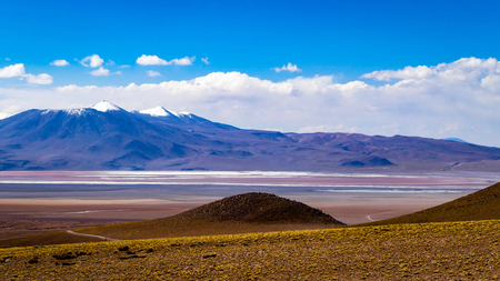 Amazing Bolivia Lagoon Mountain Scene. Very much one of the main tourist attractions and points of interest in the area. Stock Photo