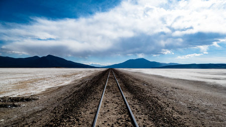 Bolivia Salt Flats Railway Line. Very much one of the main tourist attractions and points of interest in the area.