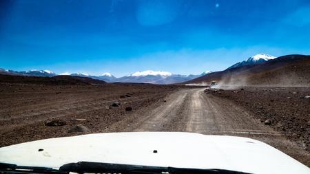 Bolivia Road Trip Tour 4x4. Very much one of the main tourist attractions and points of interest in the area. Stock Photo