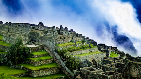 Inca Village in the mountains Peru South America. Very much one of the main tourist attractions and points of interest in the area. Stock Photo