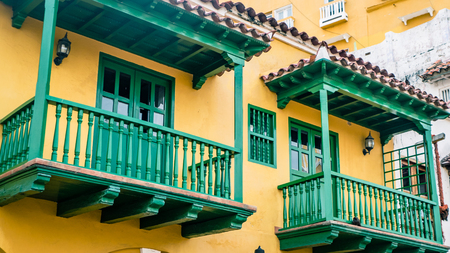 Cartagena Street Balcony Colombia South America. Very much one of the main tourist attractions and points of interest in the area. 版權商用圖片