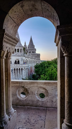 Fishermans Bastion Scene Budapest Hungary. Very much one of the main tourist attractions and points of interest in the area.
