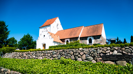 Danish Church Outside from Aarhus Denmark. Very much one of the main tourist attractions and points of interest in the area. Stock Photo