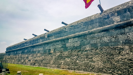 Cartagena City Walls Colombia South America. Very much one of the main tourist attractions and points of interest in the area. Stock Photo