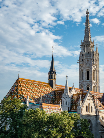 Budapest Church Cathedral Scene Hungary. Very much one of the main tourist attractions and points of interest in the area. Stock Photo