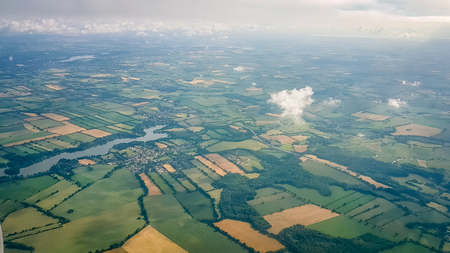 English Countryside Aerial shot from plane. Very much one of the main tourist attractions and points of interest in the area.