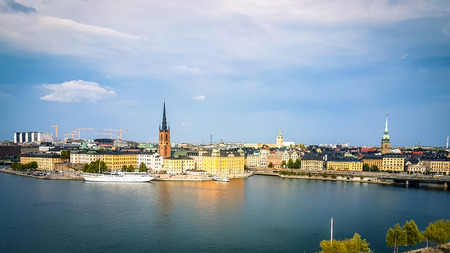 Shot of Stockholm sweden skyline showing traditional city centre building