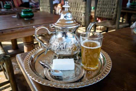 Image of Traditional Mint Tea Drink from Marrakesh Morocco Imagens