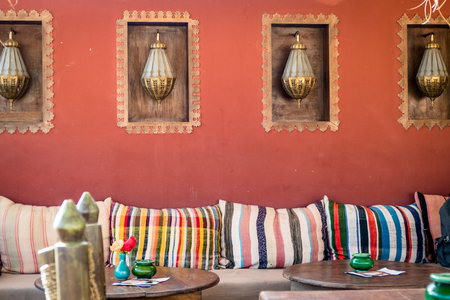 Typical Moroccan Interior furnishings in Marrakesh Stock Photo