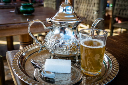 Image of Traditional Mint Tea Drink from Marrakesh Morocco Foto de archivo