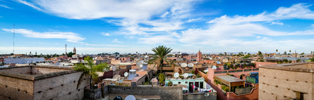 Cityscape of the Marrakesh Skyline and roof tops