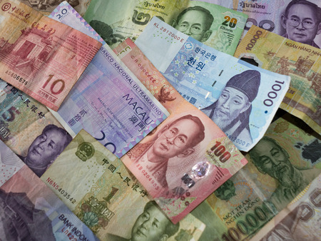 Selection of Asian Money Currency banknotes