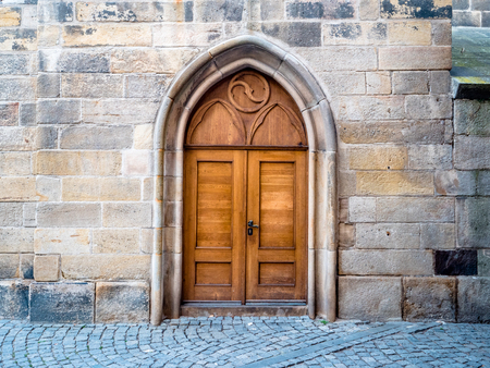 Prague Czechia Example of City Architecture Building Church style wooden Doorway