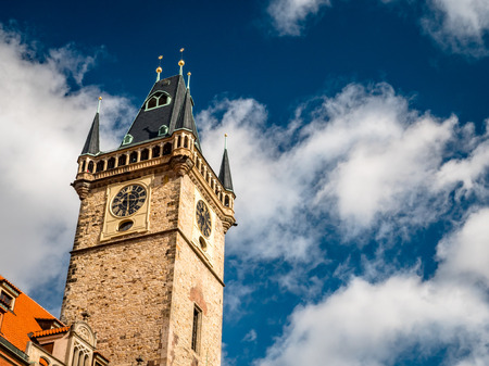 Prague Czechia View of Iconic Astrological Clock Tower Фото со стока