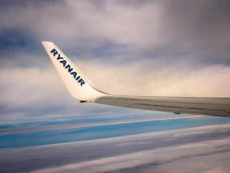 Ryanair wing and wingtip mid flight