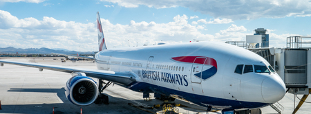 British Airways Boeing 777 aircraft being loaded at Las Vegas McCarran Airport for flight to the UK