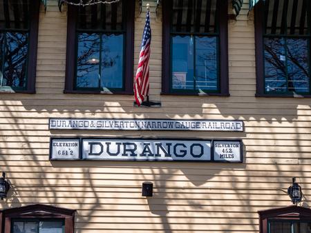 Vintage Tourist attraction Durango Colorado Train station building Редакционное