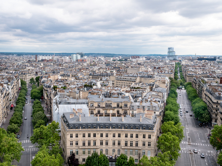 View of the Avenue des Champs-Élysées from the top of the Arc de Triomphe 写真素材