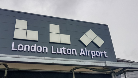Luton, United kingdom - May 25, 2019: Luton Airport low cost airport hub entrance welcome sign