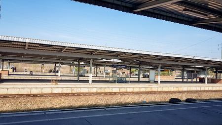 Berlin, Germany - May 25, 2019: Berlin Schonefeld Airport train station sbahn platform