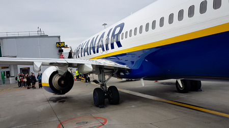 Luton, United kingdom - May 25, 2019: Passengers boarding low cost Ryanair flight at Luton Airport bound for Berlin