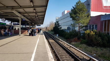 Berlin, Germany - May 25, 2019: Berlin Schonefeld Airport train station sbahn platform