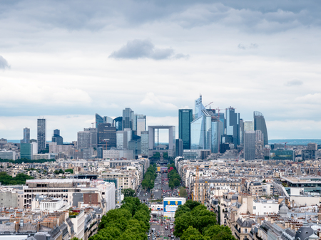 View of the La Défense business district from the top of the Arc de TriomphePlace Charles de Gaulle