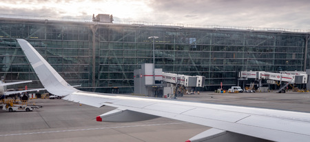 London Heathrow Airport terminal 5 building exterior including  images of British Airways planes
