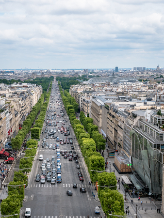 Portrait View of the Avenue des Champs-Élysées from the top of the Arc de Triomphe