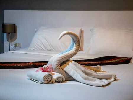 Pattaya, Thailand - August 1, 2019: Luxury Boutique Hotel Swan Towel Art. Very romantic and a nice surprise welcome to the vaction