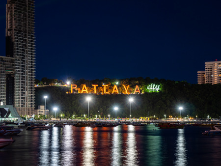 Pattaya, Thailand - August 1, 2019: Close up View fo the famous Pattaya City sign lit up at night Editorial