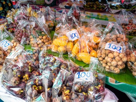 Food and Fruit Stalls on the island of Koh sametThailand. Mango, Melon and many more exotic fruits
