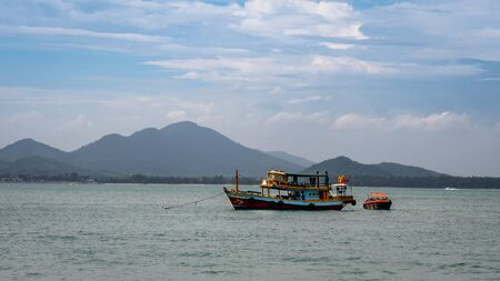 Thai Fishing Vessel anchored out at sea off the coast of Rayong and Koh Samet island
